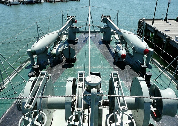 Minesweeping equipment on the stern of <em>HMAS Castlemaine</em> today